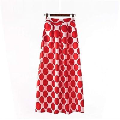 Huisongda Falda Larga for Mujer, Bolsillos de Cintura Alta Falda Larga con Rayas Florales Vintage (Color : 1090 18 Red, tamaño : XXXL): Hogar