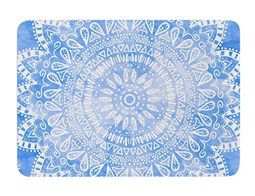 "KESS InHouse Nika Martinez ""Boho Flower Mandala in Blue"" Aqua Memory Foam Bath Mat, 24 by 36-Inch, 24"" X 36"""" from Kess InHouse"