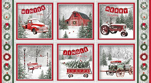 Truck, Barn, Tractor, Wagons, Pines, Cardinals, Winter Scene, Holiday Wishes, Henry Glass, 6924-86, 23-inch Panel (Quilt Holidays Cotton Fabric)