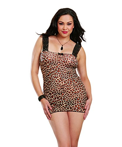 Dreamgirl Women's Plus-Size Leopard Print Stretch Mesh Chemise, Leopard, One Size