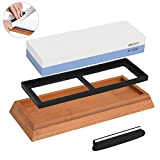 NonSlip Bamboo Base & Angle Guide Whetstone Sharpener Premium Knife Sharpening Stone 2 Side Grit 1000/6000 Waterstone