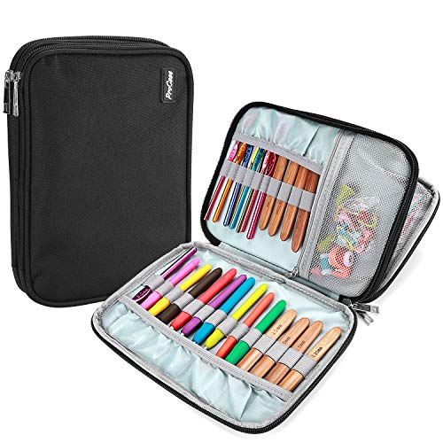 ProCase Crochet Hook Case (up to 9 Inches), Travel Organizer Zipper Bag for Various Crochet Hooks, Interchangeable Circular Knitting Needles and Other Accessories (NO Accessories Included), Black