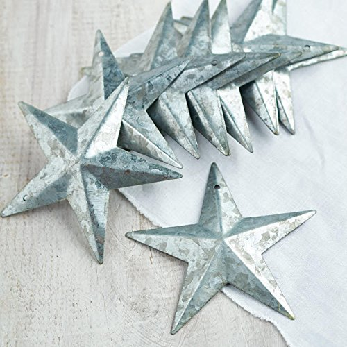 Factory Direct Craft Group of 12 Galvanized Metal Dimensional Barn Stars with Hole for Crafting and Decorating