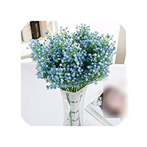 Heart to hear Artificial flowers 9pcs/lot Fake Plastic Baby Breath Flower Blue Gypsophila Artificial Flowers White Wedding Home Decoration 118