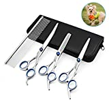 Dimmson7 Inchs Professional Dog Grooming Scissors Set Tool- Sharp and Strong Stainless Steel Blade-Haircutting Thinning Straight Cured Shears Kit with Combs - For Cat and More Pets … (Silver)