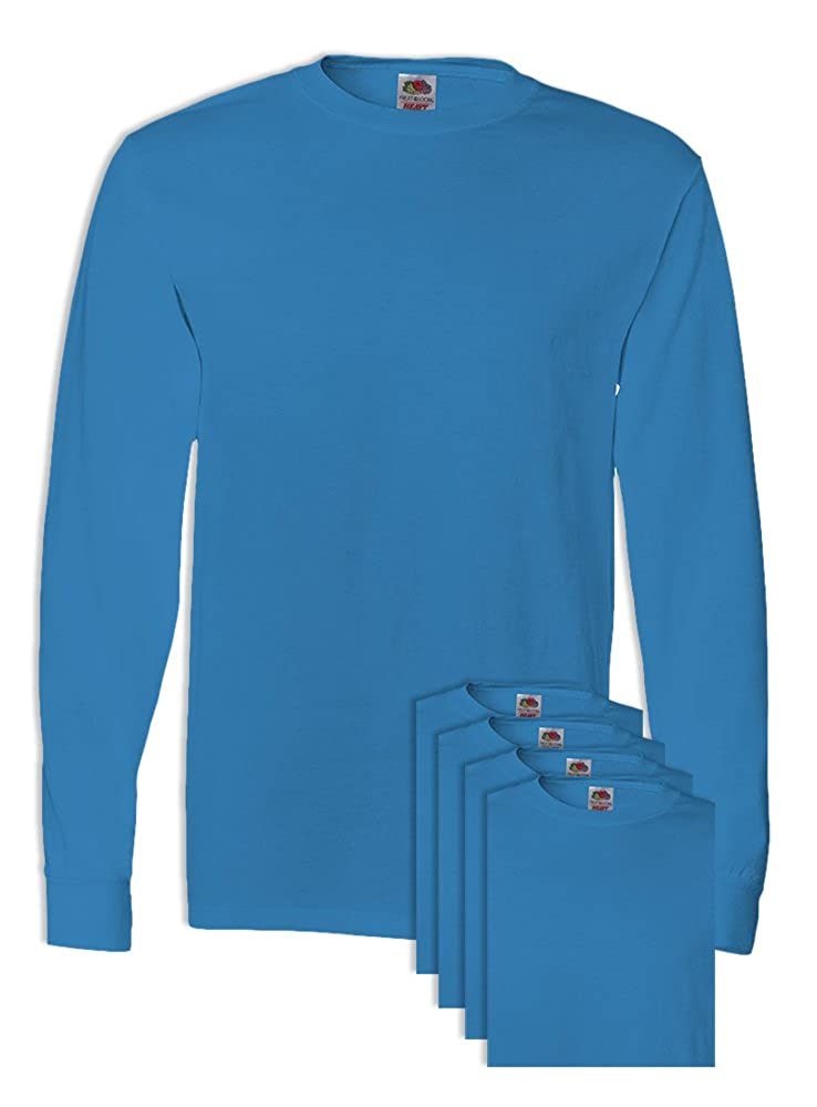 FoTL 4930 Mens Heavy Cotton Long-Sleeve Tee XL Pacific Blue 5 Pack