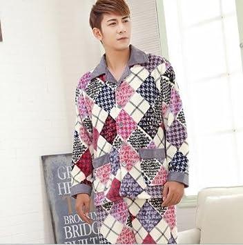 &zhou pijama hombre ocio cardigan suelto mantenga caliente pijama grueso hogar ropa de invierno , 7