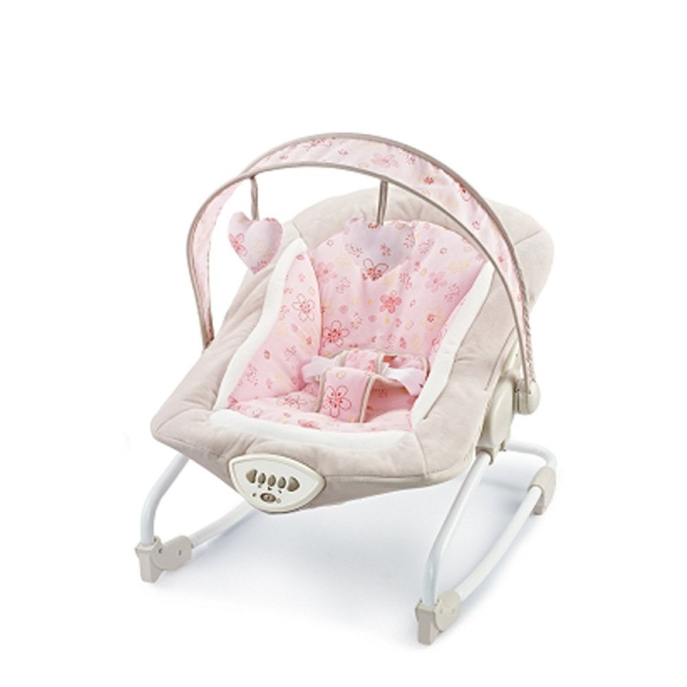 LZTET Chair Bouncers Baby Rocking Chair Music Comfort Rocking Chair With Vibration Baby Toy Sleepy Cradle Bed Adjustable,Pink