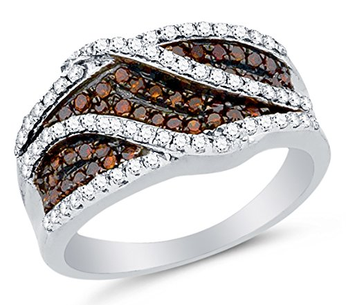 10K-White-Gold-Chocolate-Brown-White-Round-Diamond-Wedding-Band-Ring-Prong-Setting-34-cttw