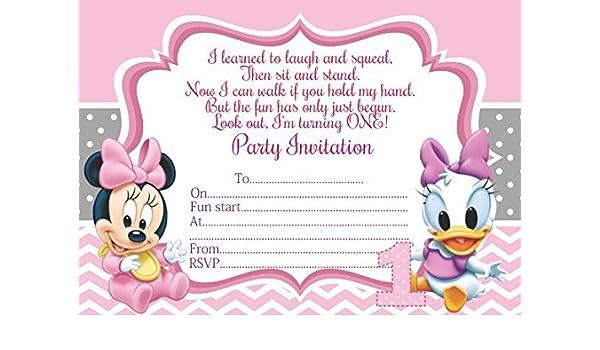 10 x Bebé Minnie Mickey Mouse pato Donald Daisy niños fiesta de cumpleaños invitaciones: Amazon.es: Oficina y papelería
