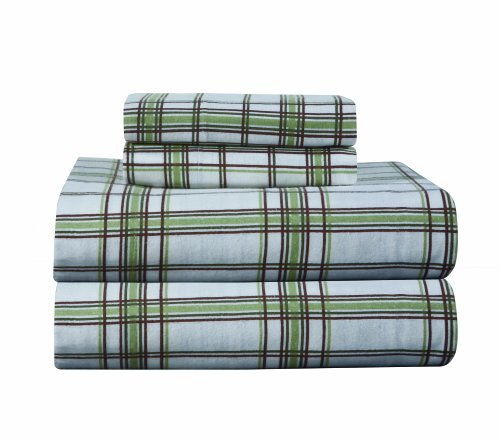 Pointehaven Heavy Weight Printed Flannel Queen Sheet Set, Plaid, Sage