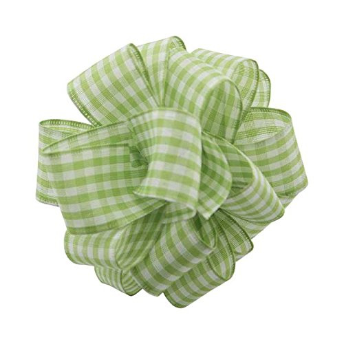 Berwick Offray DWI Country Gingham Wired Edge Ribbon-1-1/2 Wide X 10 Yards Ribbon, Lime