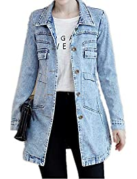 f916b3e4cd4 Women s Boyfriend Denim Jackets Long Sleeve Loose Stretch Jean Coats