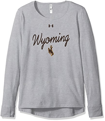 Under Armour NCAA Wyoming Cowboys Womens NCAA Women's Long Sleeve Charged Cotton Tee, X-Large, Gray