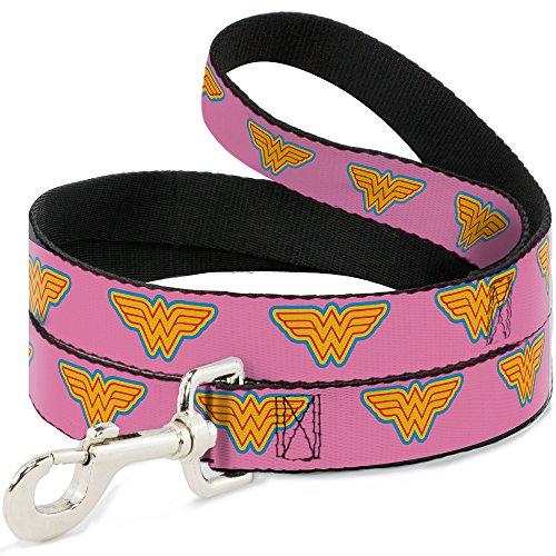 Buckle Down DL-6FT-WWW004-N Pink/Blue/Yellow Wonder Woman Pet Leash, 6 Feet Long-1/2 ()