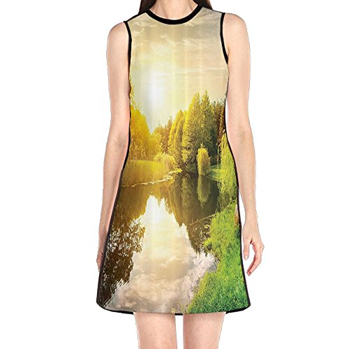 MONILO Sunset Calm River Grass Willow Tree Reflection Reflection Light Clouds Women's Sexy Sleeveless Mini Dress Print Party Dress Tank Dress (Grass Willow)