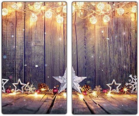 decorwelt | Herdabdeckplatten 2x30x52 cm Ceranfeld 2-Teilig Universal Elektroherd Induktion für Kochplatten Herdschutz Deko Schneidebrett Sicherheitsglas Spritzschutz Glas Weihnachten Holz
