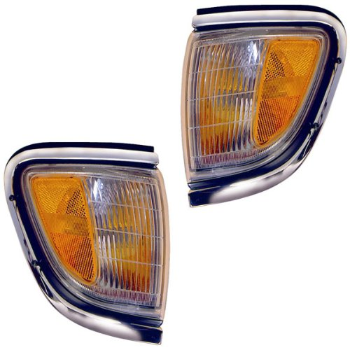 1995-1996 Toyota Tacoma Pickup Truck (2WD 2 Wheel Drive) Corner Park Light Turn Signal Marker Lamp with Chrome Trim Set Pair Right Passenger And Left Driver Side (95 (Side Marker Lamp Trim)