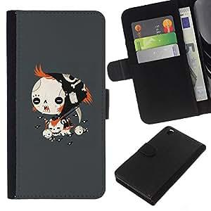 LECELL--Cuero de la tarjeta la carpeta del tirón Smartphone Slots Protección Holder For HTC DESIRE 816 -- Goth Emo Chica --