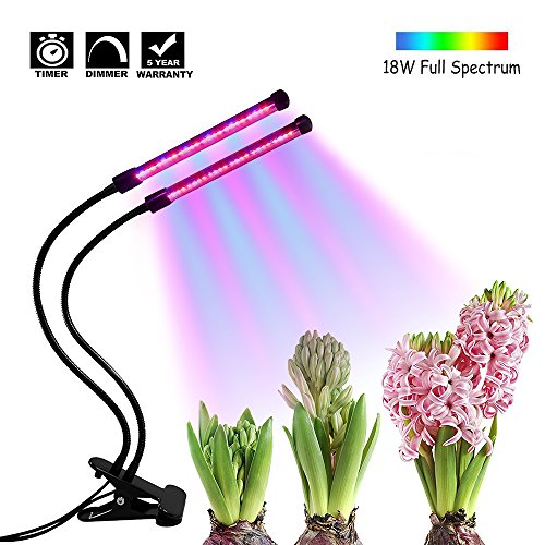 Timing Function Dual Head Grow Light, 36 LEDs 5 Levels 3 Modes Timing(3H/9H/12H) Plant Lights Bulbs with Adjustable 360 Degree Gooseneck for Indoor Plants Hydroponics Greenhouse Garden by Mattys