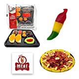 Novelty Gummy Candy Sampler Gift Pack with Meat Maniac Sticker- Mini Gummy Candy Pizza (3oz), Mini Gummy Candy Sushi (3oz) & Spicy Gummy Combo Pepper (2.75oz)