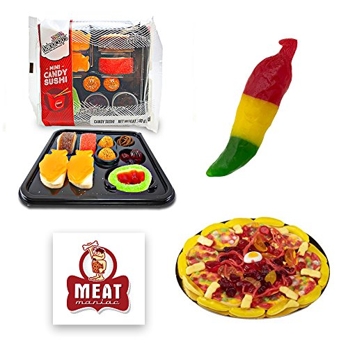 Novelty Gummy Candy Sampler Gift Pack with Meat Maniac Sticker- Mini Gummy Candy Pizza (3oz), Mini Gummy Candy Sushi (3oz) & Spicy Gummy Combo Pepper (2.75oz) (Meat Pizza)