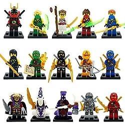 Shalleen Lot of 15pcs Ninjas Mini Figures Building block Toys Ninja collection figures