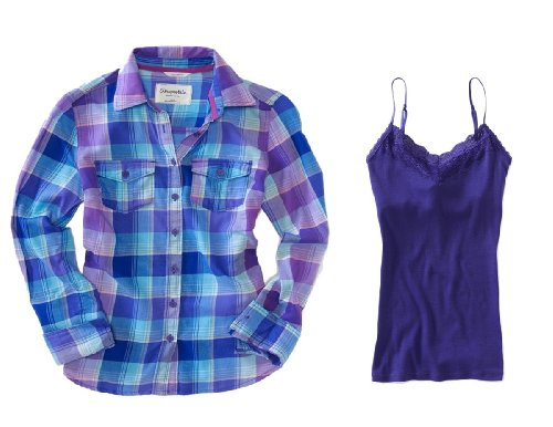 Aeropostale Womens Purple (488) Long Sleeve Andrea Plaid Woven Shirt Coordinated with Aero's Purple (568) Ribbed Lace Cami; Camisole - Juniors Size XSmall (XS)