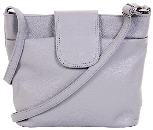 Primo Sacchi Ladies Italian Light Grey Textured Leather Classic Shoulder Crossbody Bag Fully Adjustable - 28 Tuscan Light