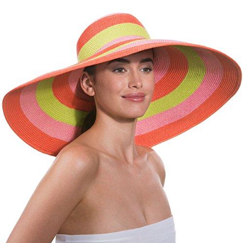 Eric Javits Women's Luxury Headwear Stripe Dip Brim Hat (Orange Pop) by Eric Javits
