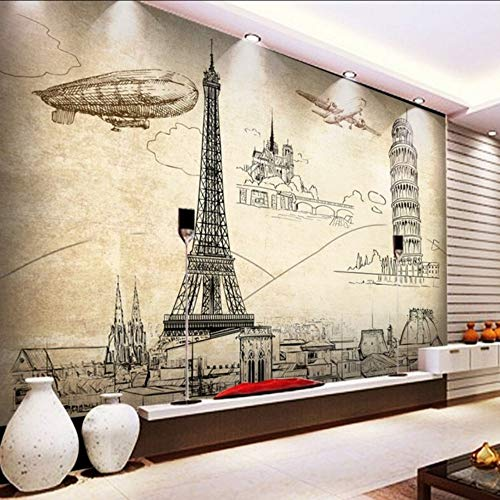 hwhz Custom 3D Wallpaper European American Nostalgic Buildings Paris Tower Mural Tv Backdrop Living Room Restaurant Bar Wallpaper-200X140Cm