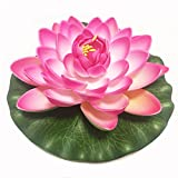 Emmix Artificial Water Lilies Foam Floating Lotus Flower for Pool Decoration and Pond Decoration 7'' Set of 4 (Pink)