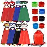 Kids Dress Up Costumes Cartoon Satin 8pcs Characters Superhero Capes with Felt Masks and Slap Bracelets (8pcs Capes)