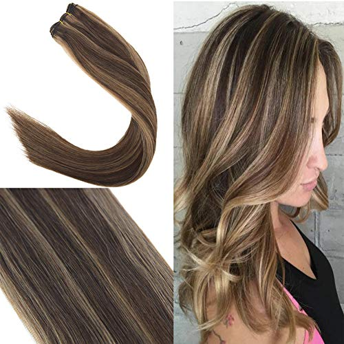 Youngsee Remy Brazilian Hair Bundles Human Hair Extensions 14inch Dark Brown with Light Brown Dip Dyed 1 Bundle Sew in Human Hair Weave 100g/set