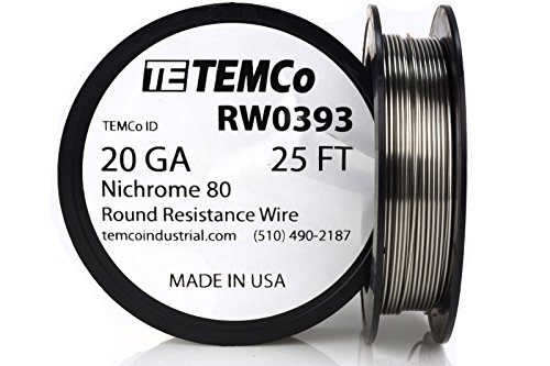 TEMCo Nichrome 80 series wire 20 Gauge 25 FT Resistance AWG ga