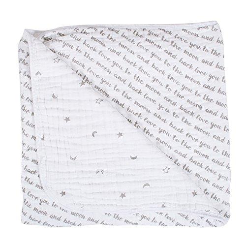 Bebe au Lait Premium Muslin Snuggle Blanket, Love and Luna - Moon Baby Blanket