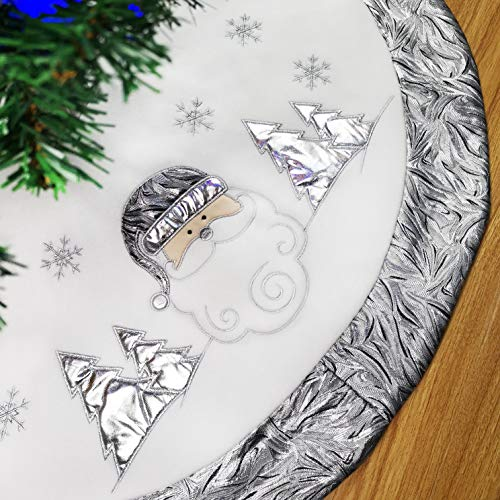 (WEWILL 36'' Luxury Christmas Tree Skirt Embroidered Silvery Santa Claus Snowflake with Satin Border, Xmas Tree Skirt Themed with Christmas Stockings(Not Included) )