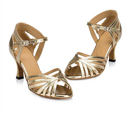 WYMNAME Mujeres Zapatos De Baile Latino,Tacones Fondo Blando Sandalias De Interior Zapatos De Baile De Salón Estándar Internacional Dorado