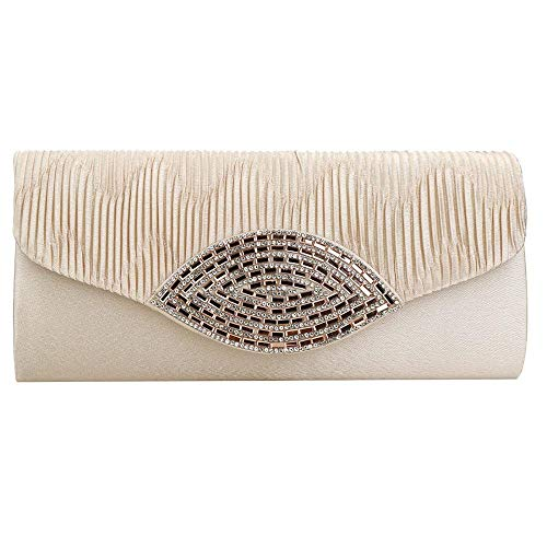 White Pleated Evening Wedding Envelope Vintage Party Womens Handbag Cocktail Clutch Satin I6xPvwnp