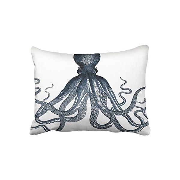 Accrocn Pillowcases Navy Nautical Signle Giant Steampunk Octopus Vintage Kraken White Cushion Decorative Pillowcase… 3