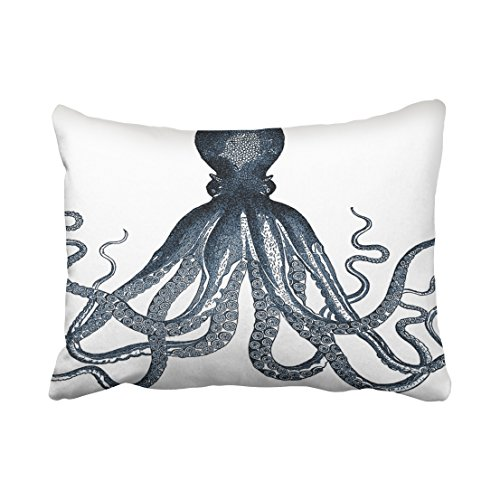 Accrocn Pillowcases Navy Nautical Signle Giant Steampunk Octopus Vintage Kraken White Cushion Decorative Pillowcase Polyester 20 x 26 Inch Rectangl Standard Size Pillow Covers Hidden Zipper