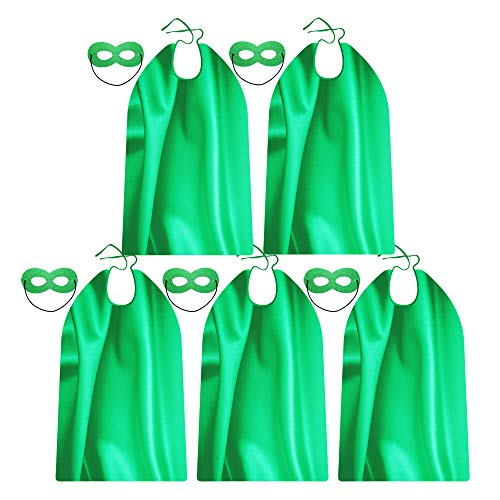 Superhero Capes and Masks for Adults Green - 5 Bulk Packs for Men & Women - Dress Up Superhero Party Costumes for Team Building -