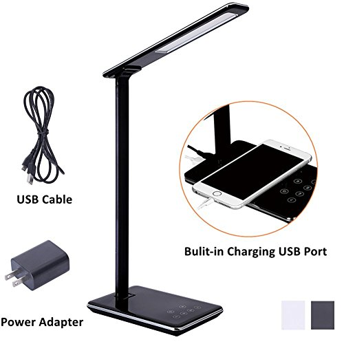 Contemporary Dimmer (LED Desk Lamp, 5 Level Dimmable Touch Control Table Lamp, Office Light with USB Charging port, 1H/2H Auto Off Time Black)