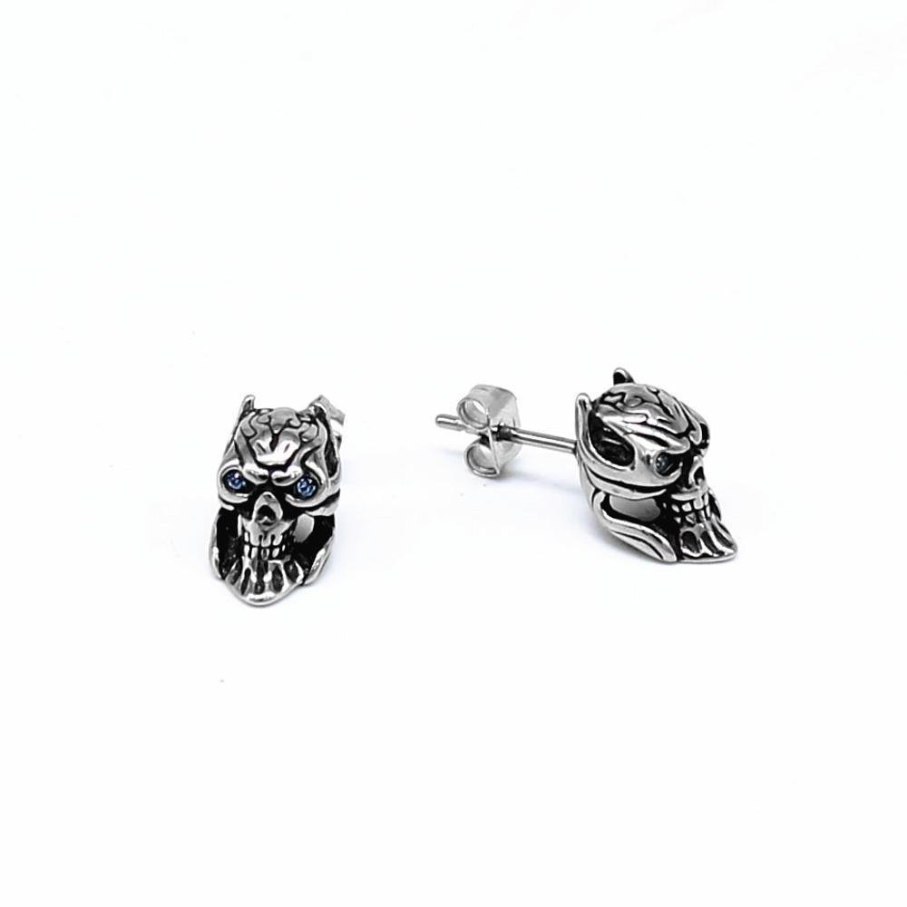 Ludage Earrings, Stainless Steel Ghost Head Stud Earrings for Men and Women General Purpose Skull Earring Anti-Allergy 12.3mm6.9mm