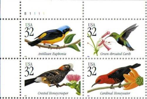 Us Plate Block (TROPICAL BIRDS ~ CRESTED HONEYCREEPER ~ CARDINAL HONEYEATER ~ ANTILLEAN EUPHONIA ~ GREEN-THROATED CARIB #3225a Plate Block of 4 x 32¢ US Postage Stamps)
