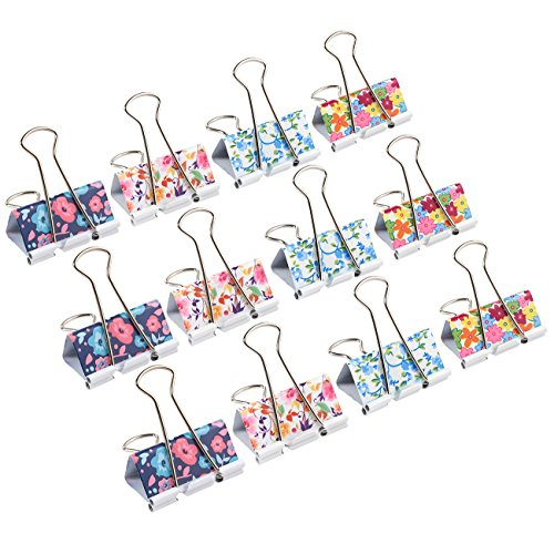 Colored Binder Clips - 12-Pack Paper Clamps, Binder Clips Bulk for Office Work, Archive Work, Document Organizing, Designs May Vary, Large, 3.1 x 2.2 inches