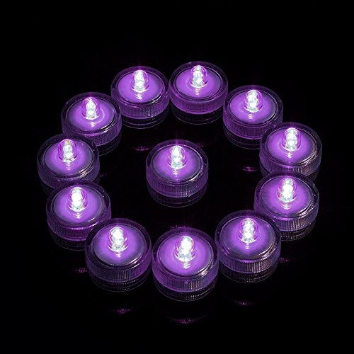 Submersible Led Lights, Somuns Underwater Purple Vases Tea Lights Battery Operated for Wedding Christmas Party Club Decor Centerpieces 12 Pieces (Plastic Fish Bowl Containers)