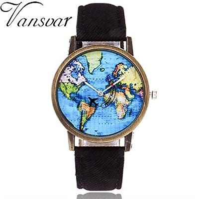 WM & MW Travel Watches,Women Design Plane World Map Dress Watch Denim Band Quartz Wrist Watches