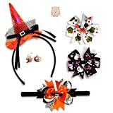 Halloween Hair Accessories for Girls/A which hat Hairband + A Baby Headband + 2 Hair Bows + Ghost Earrings 5 Premium Quality, Excellent Little Girl Gift 1-8 Years/Babies Party Favors