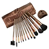 BROADCARE 12pcs Makeup Brush Set Cosmetic Foundation Blending Eyeshadow Eyeliner Lip Tool with PU Leather Case